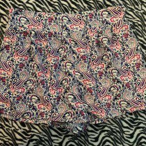 White Blue Pink Paisley Mini Shorts Womans sz Med